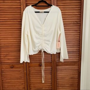 LOVEFOOL Ruched Slit Sleeve Blouse
